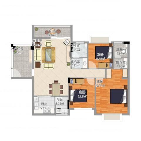 凤凰新城3室4厅2卫1厨153.00㎡户型图