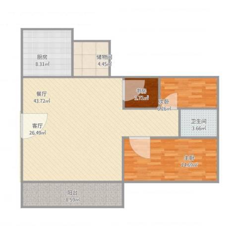 怡景丽苑3室1厅1卫1厨125.00㎡户型图