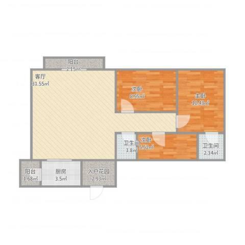 廊桥名轩3室1厅2卫1厨96.00㎡户型图