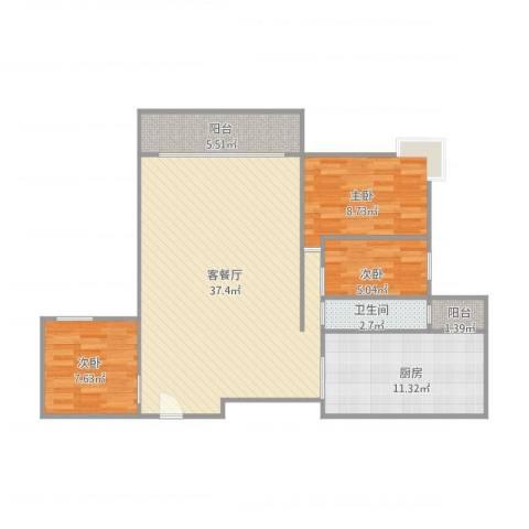 东林美域3室1厅1卫1厨108.00㎡户型图