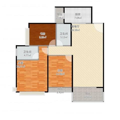 太原恒大名都3室1厅2卫1厨140.00㎡户型图
