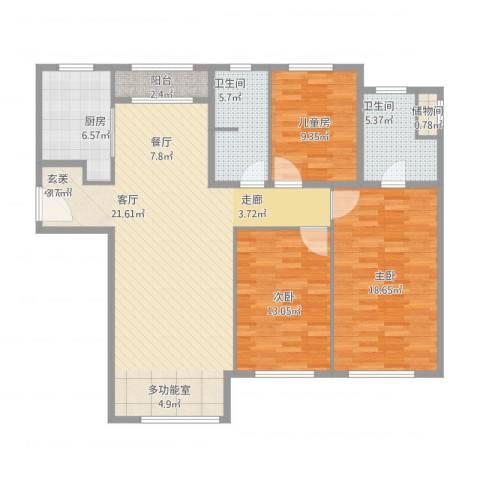 远洋钻石湾3室1厅2卫1厨143.00㎡户型图