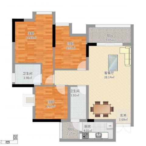 鸥鹏・天境3室1厅2卫1厨114.00㎡户型图