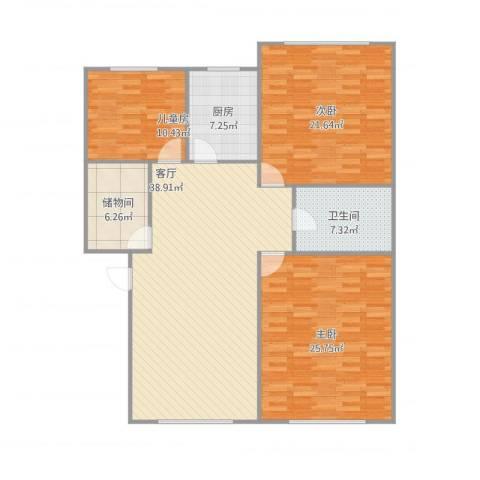 如意家园3室1厅1卫1厨147.00㎡户型图