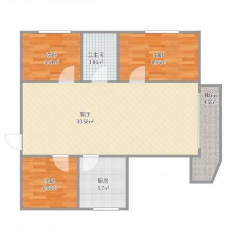 尚辉苑B17063室1厅1卫1厨90.00㎡户型图