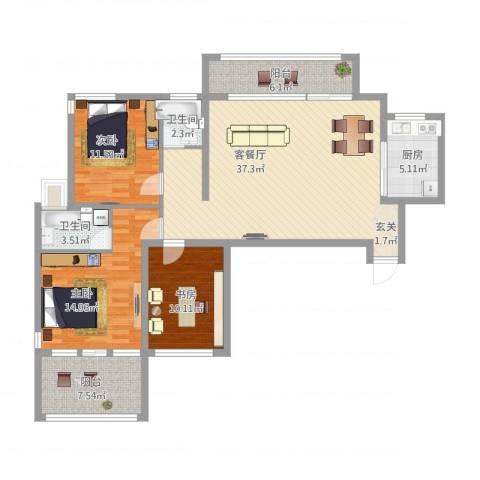 民生桂馨苑3室1厅2卫1厨140.00㎡户型图