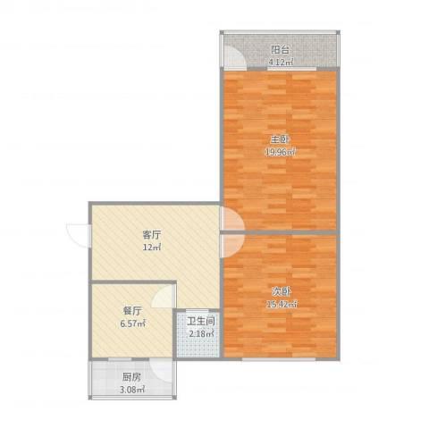 佳宝路单位宿舍2室2厅1卫1厨85.00㎡户型图