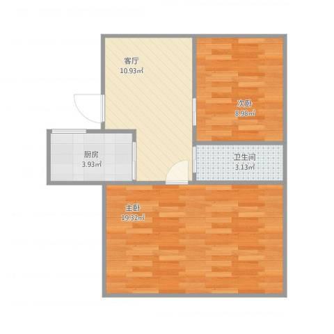 京都苑2室1厅1卫1厨62.00㎡户型图