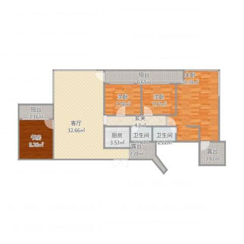 天赐龙都4室1厅2卫1厨145.00㎡户型图