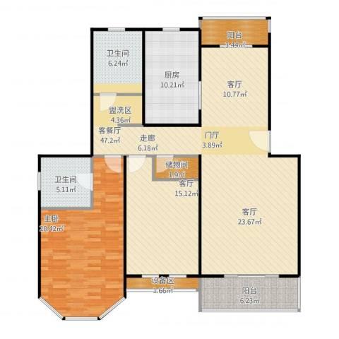 成事高邸1室2厅2卫1厨158.00㎡户型图