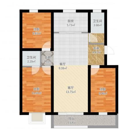 清馨花园3室1厅2卫1厨107.00㎡户型图