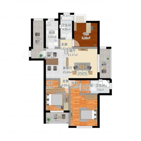 金域华府3室1厅2卫1厨128.00㎡户型图