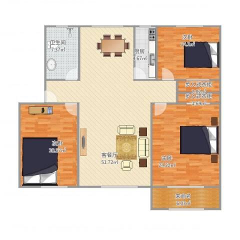 辛甸花园3室1厅1卫1厨176.00㎡户型图