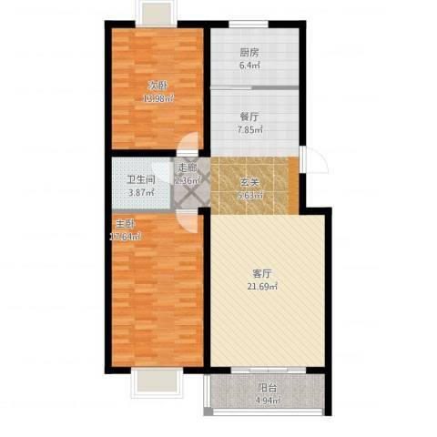 清馨花园2室1厅1卫1厨119.00㎡户型图