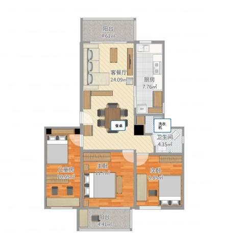 黄石花园3室1厅1卫1厨108.00㎡户型图