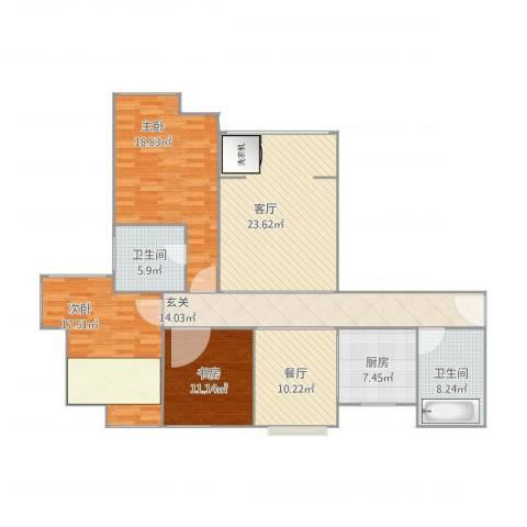 徐州鼓楼广场3室2厅2卫1厨154.00㎡户型图
