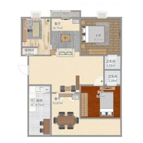 香江湾3室2厅2卫1厨92.00㎡户型图