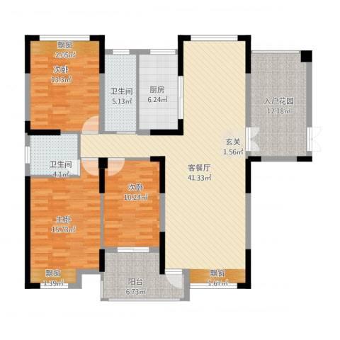 暨阳上河园二期3室2厅2卫1厨162.00㎡户型图