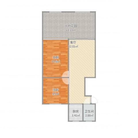国和一村2室1厅1卫1厨99.00㎡户型图
