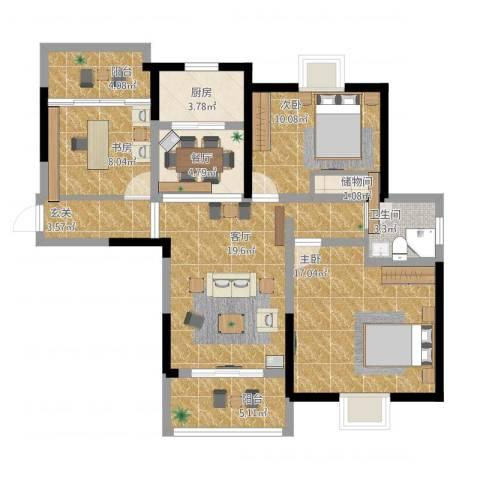 翰庭雅苑3室2厅1卫1厨118.00㎡户型图