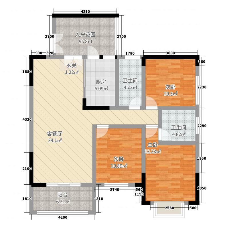 润安・南城国际3126.82㎡3号楼D1户型3室2厅2卫1厨