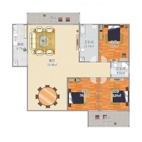 金辉园3室1厅2卫1厨229.00㎡户型图