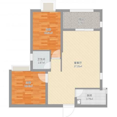 莲花尚院2室1厅1卫1厨87.00㎡户型图