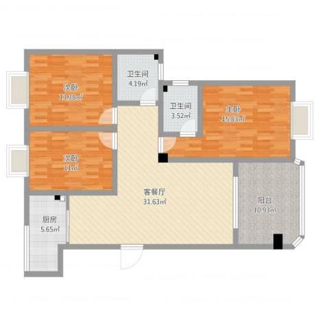英豪永和春天3室1厅2卫1厨138.00㎡户型图