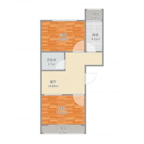 青塔蔚园2室1厅1卫1厨70.00㎡户型图