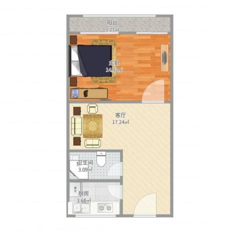 青塔蔚园1室1厅1卫1厨58.00㎡户型图
