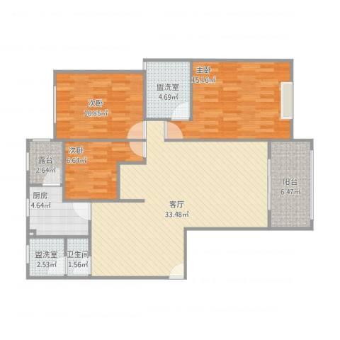和美星城3室3厅1卫2厨120.00㎡户型图