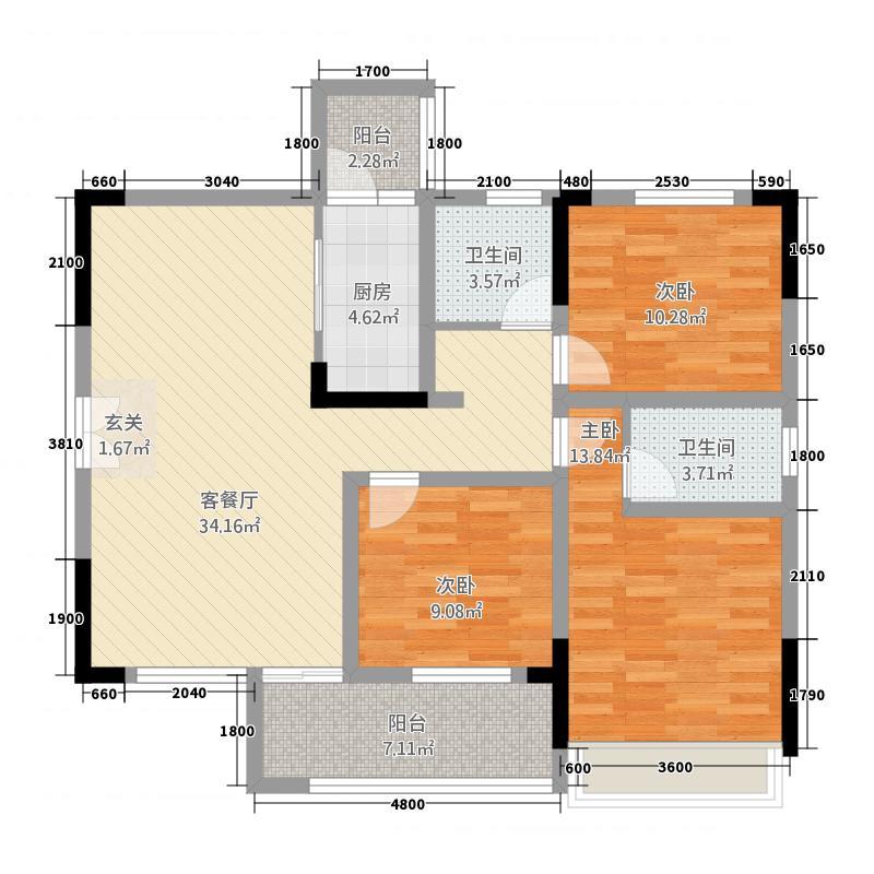 润安・南城国际3115.58㎡3号楼D2户型3室2厅2卫1厨