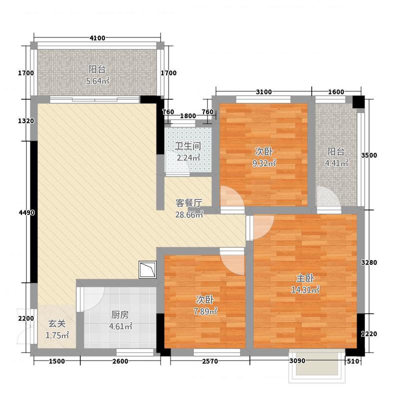 诚翔・雍江商城311.68㎡3号楼4号房户型3室2厅1卫1厨
