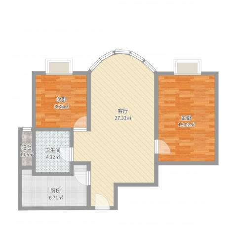 水上华城2室1厅1卫1厨88.00㎡户型图
