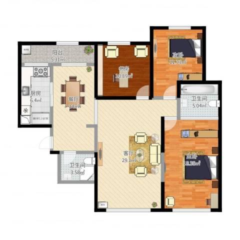 曲江千林郡3室2厅2卫1厨149.00㎡户型图