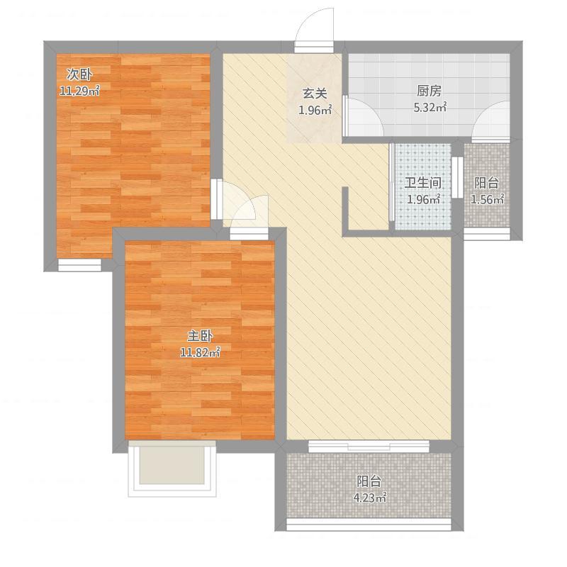 安居·尚美城1#-B-2室2厅1卫-约83.78M²