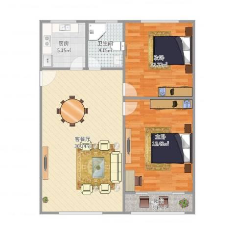 上大东村2室1厅1卫1厨96.00㎡户型图