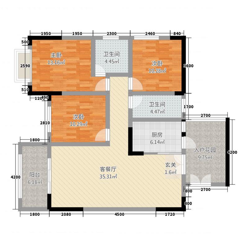 润安・南城国际212.21㎡2号楼B1户型3室2厅2卫1厨
