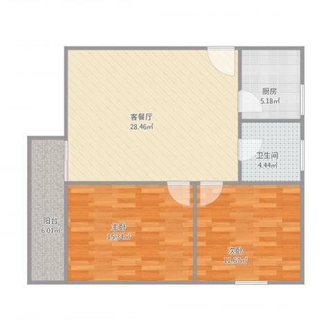 天虹花园A42室1厅1卫1厨96.00㎡户型图