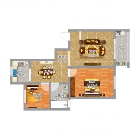 玉湖新城花园2室1厅1卫1厨101.00㎡户型图