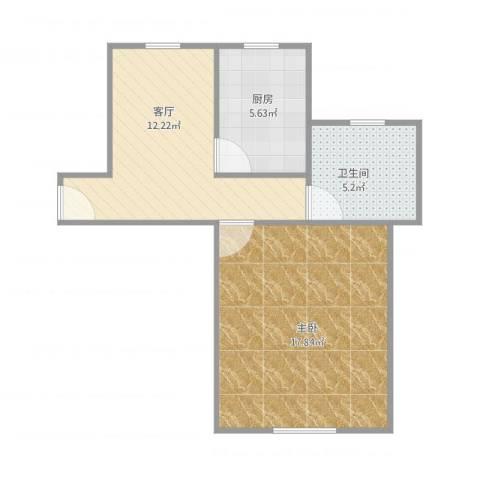 东方御水湾2号101室46平1-1-11室1厅1卫1厨55.00㎡户型图