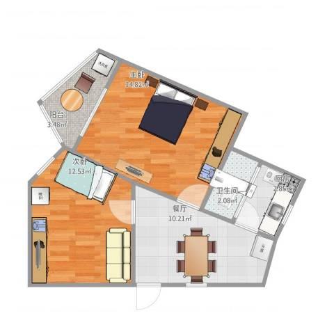 浦江丽都2室1厅1卫1厨62.00㎡户型图