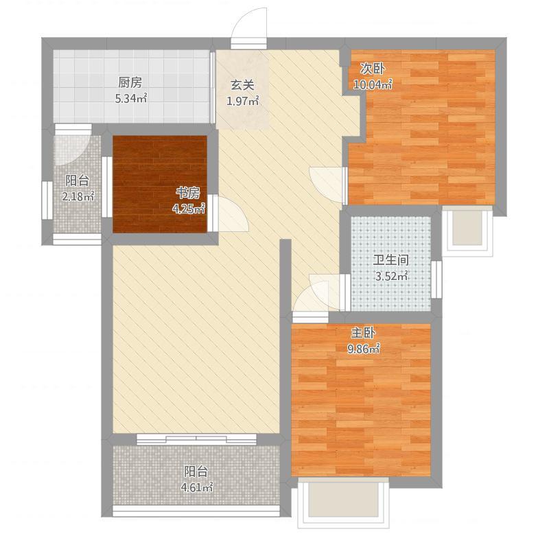 安居·尚美城6#—B-3室2厅1卫-约97.45M²