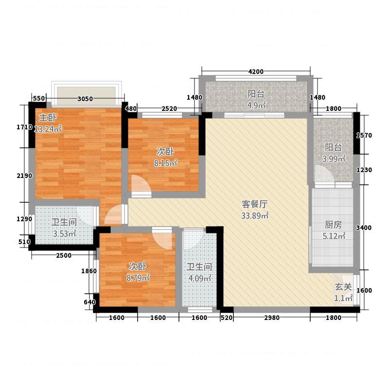 润安・南城国际3112.71㎡3号楼D3户型3室2厅2卫1厨