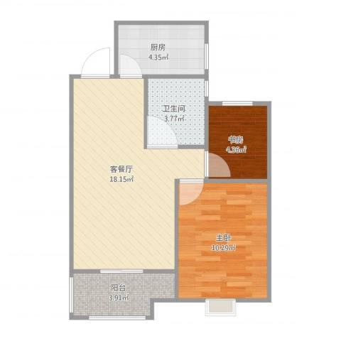 旭辉悦庭2室1厅1卫1厨61.00㎡户型图