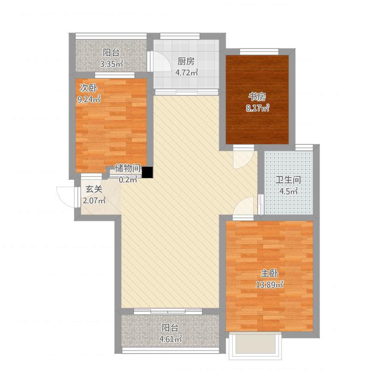 安居·尚美城10#—A-3室1厅1卫-约115.91M²