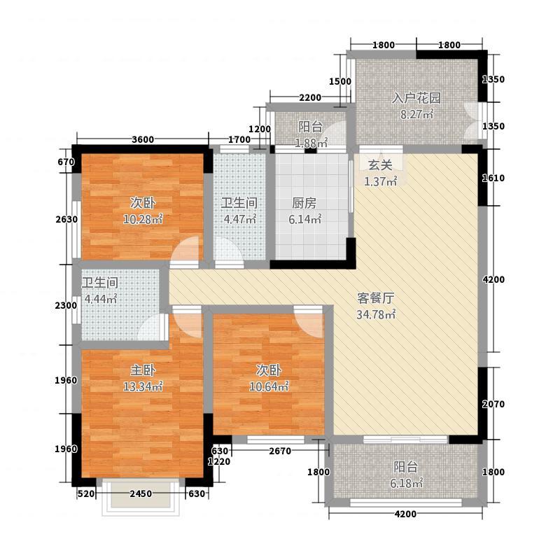 润安・南城国际3127.52㎡3号楼D1'户型3室2厅2卫1厨