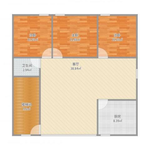 聚富花园3室1厅1卫1厨123.00㎡户型图