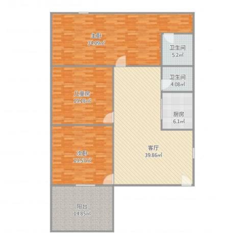 绿茵花园3室1厅2卫1厨189.00㎡户型图