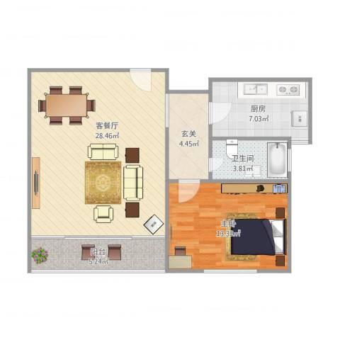 绿洲康城亲水湾1558弄53号702室67平1-2-11室1厅1卫1厨84.00㎡户型图